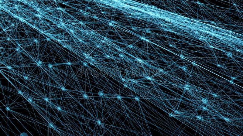 Líneas y rejilla futuristas abstractas de los puntos Web de entrelazamiento, una red de cuerdas, un negro geométrico inusual y az stock de ilustración