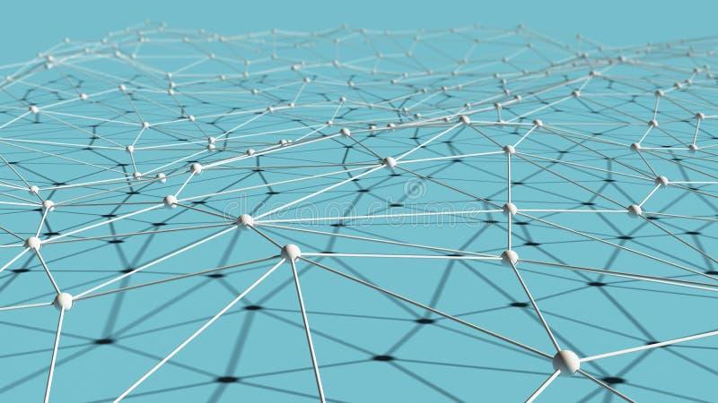 Líneas y sph blancos del triángulo de los datos digitales y de la conexión de red ilustración del vector