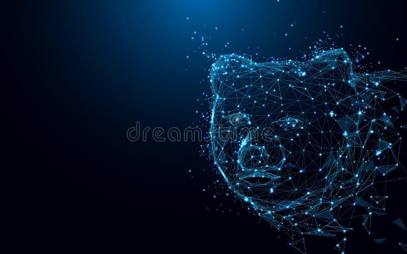 Líneas y triángulos abstractos, red de conexión de la forma de la cabeza del oso del punto en fondo azul stock de ilustración
