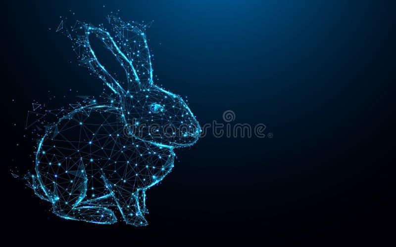 Líneas y triángulos abstractos, red de conexión de la forma del conejo del punto en fondo azul libre illustration