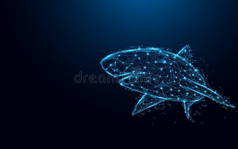 Líneas y triángulos abstractos, red de conexión de la forma del tiburón del punto en fondo azul vector del ejemplo stock de ilustración