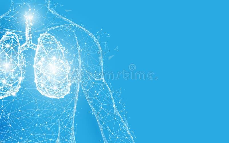 Líneas y triángulos humanos, red de conexión de la forma de la anatomía de los pulmones del punto en fondo azul libre illustration
