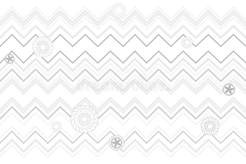 Líneas y vector geometic blanco y negro del estilo japonés del modelo de las flores ilustración del vector
