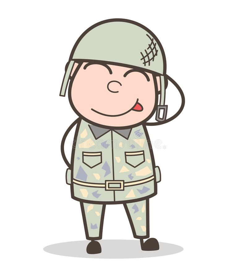 Língua colada-Para fora do exército dos desenhos animados homem engraçado e ilustração de cora do vetor da cara ilustração royalty free