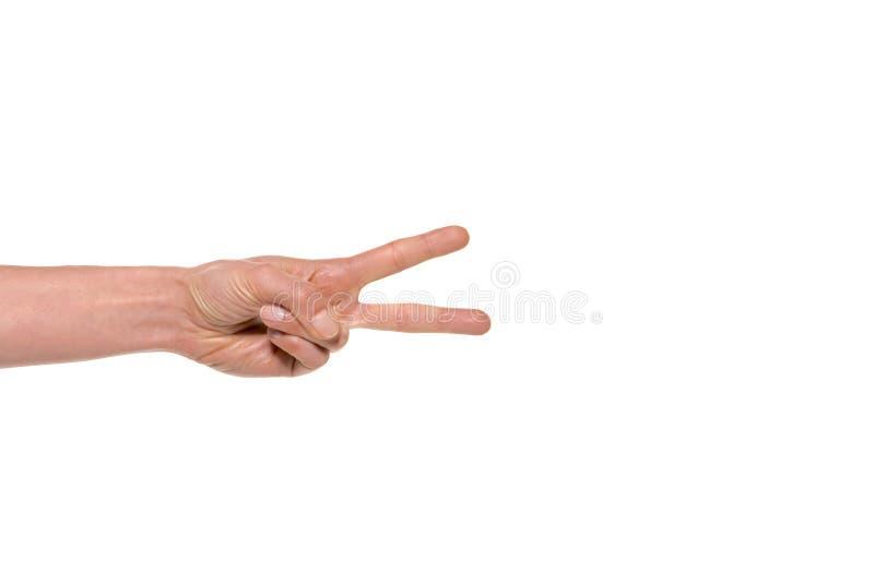 Língua de mão - dois dedos foto de stock