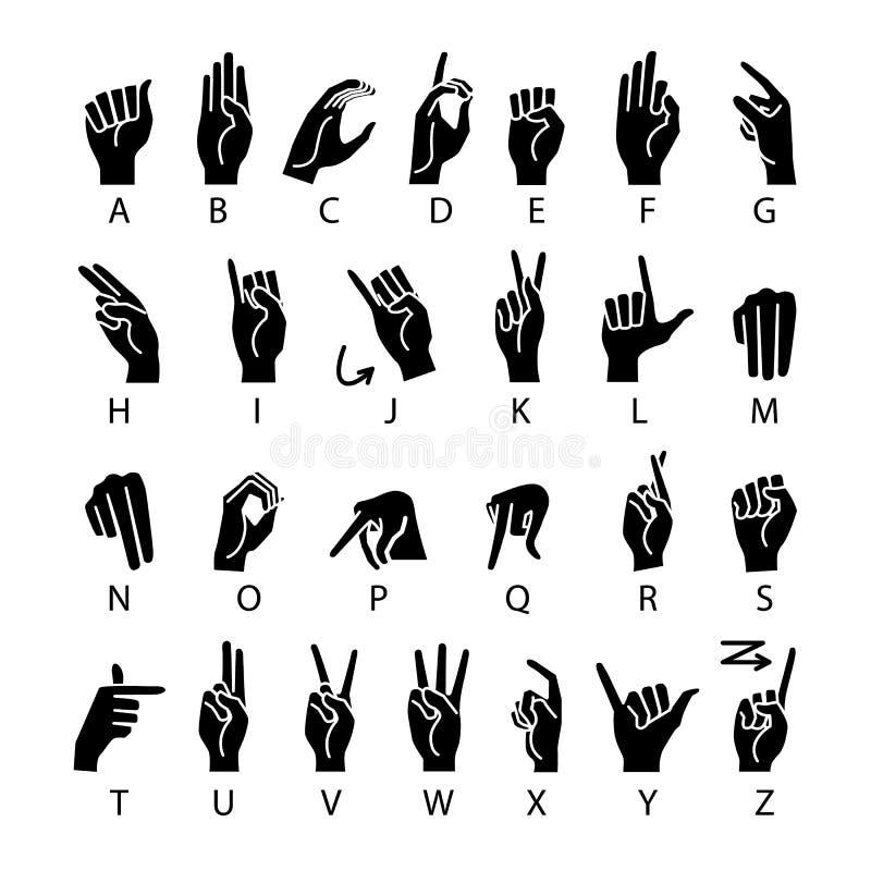 Língua do vetor da mão dos surdo-mudos Alfabeto americano do ASL da linguagem gestual ilustração do vetor