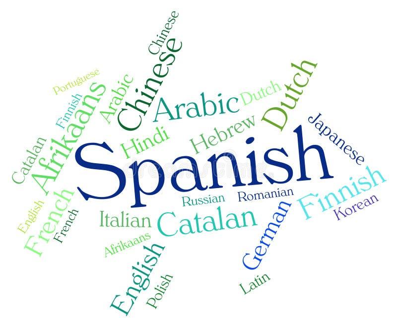 A língua espanhola significa o tradutor And Text de Wordcloud ilustração royalty free