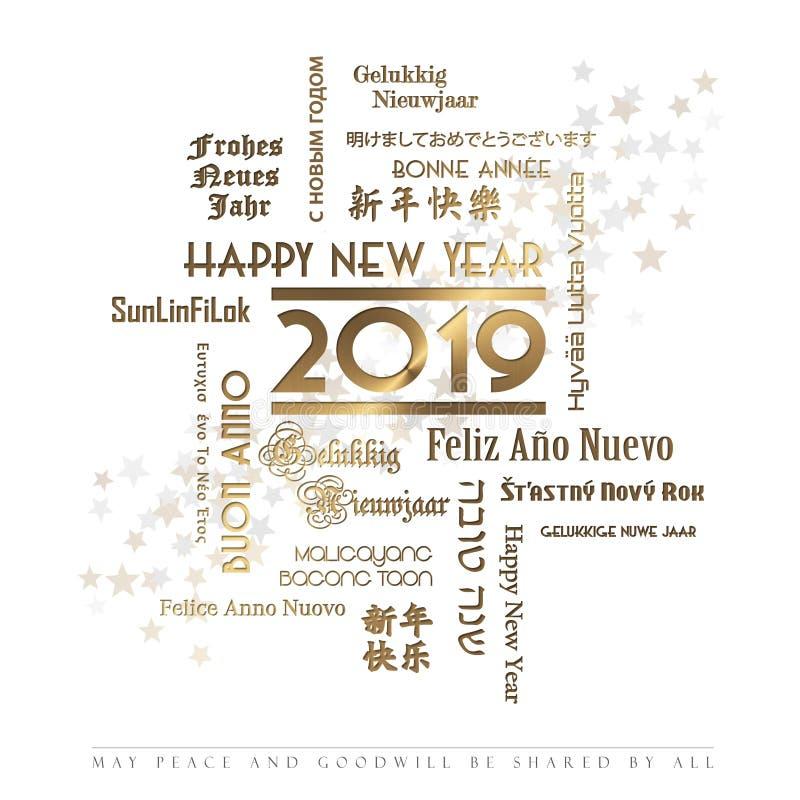 Línguas 2019 do cartão do ano novo feliz ilustração do vetor