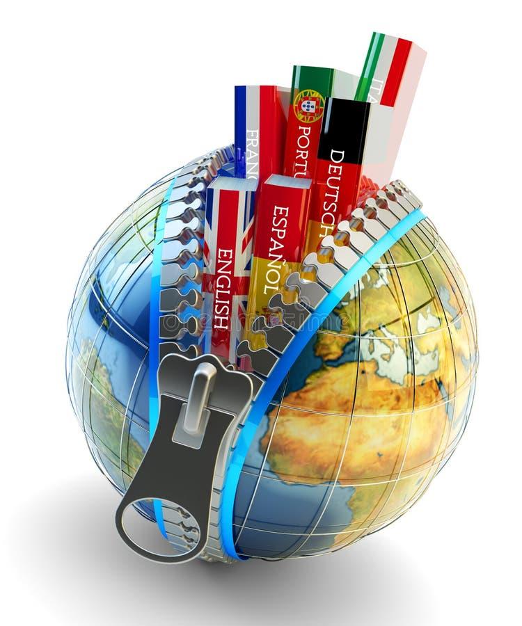 Línguas estrangeiras que aprendem e conceito da tradução, ícone em linha do tradutor ilustração do vetor