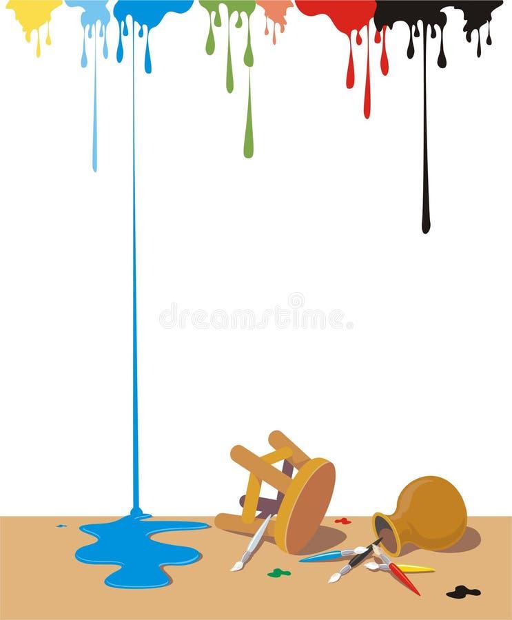 Lío del color en el suelo ilustración del vector