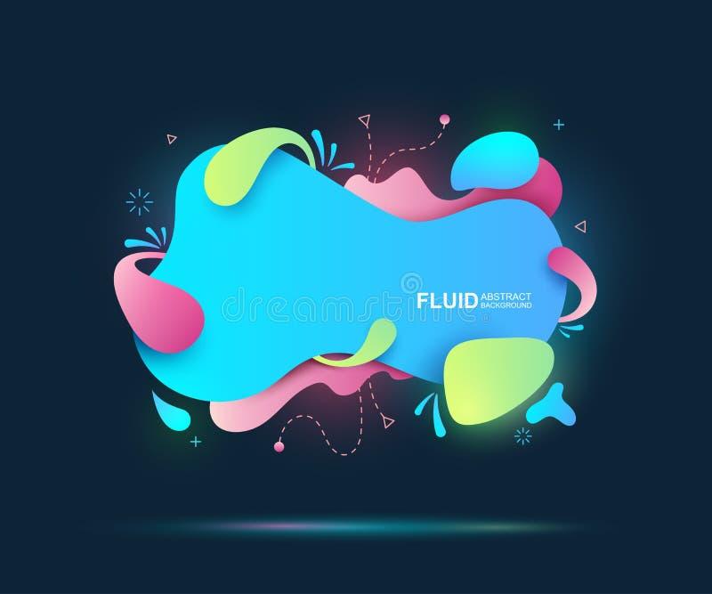 Líquido abstrato e elementos modernos Formulários e linha coloridos dinâmicos Formas orgânicas do inclinação colorido fluido Ilus ilustração royalty free