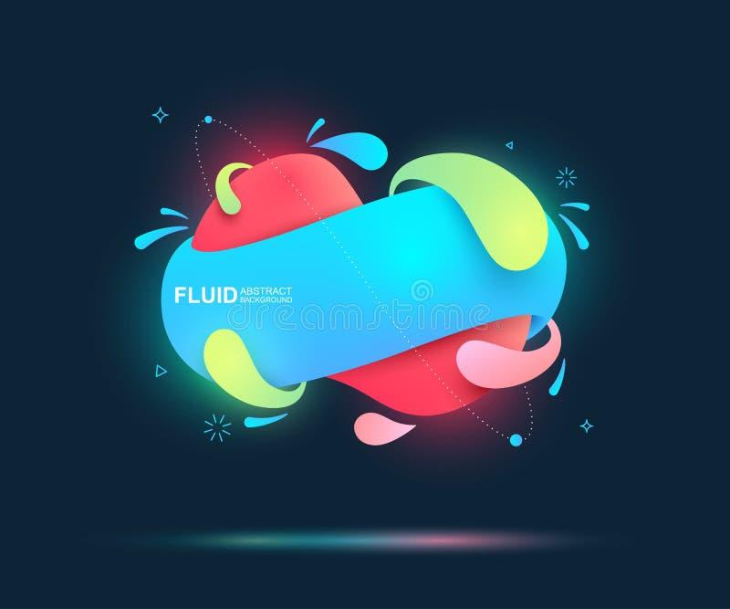 Líquido abstrato e elementos modernos Formulários e linha coloridos dinâmicos Formas orgânicas do inclinação colorido fluido Ilus ilustração do vetor