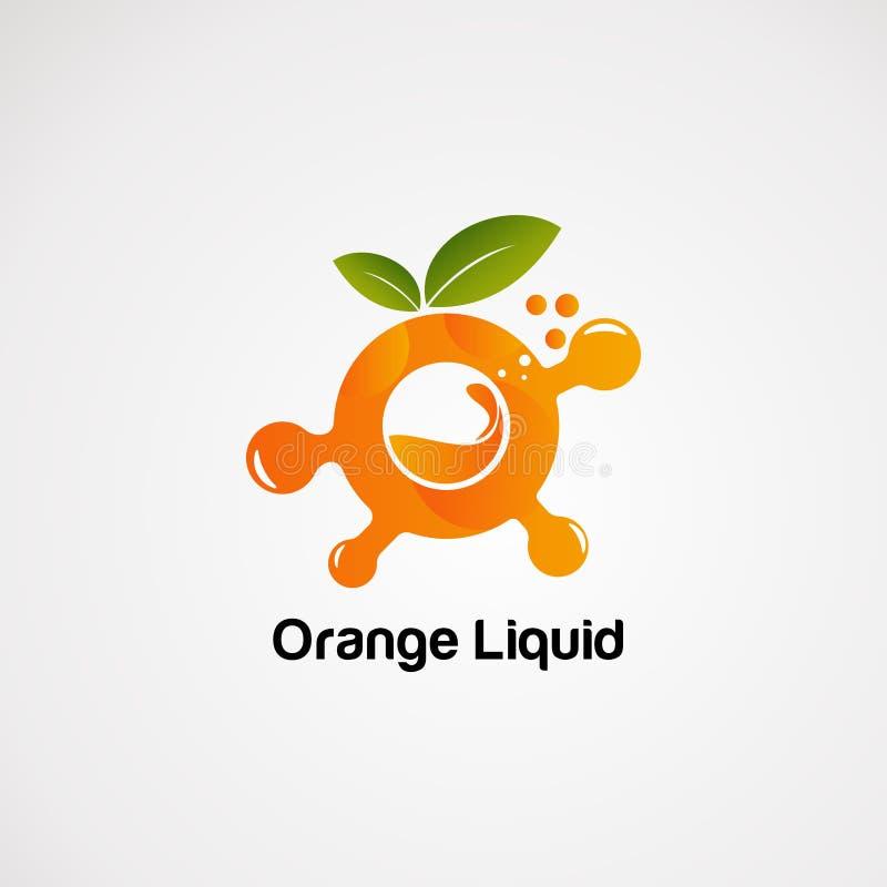 Líquido alaranjado com conceito, ícone, elemento, e molde do vetor do logotipo da bolha para a empresa ilustração stock