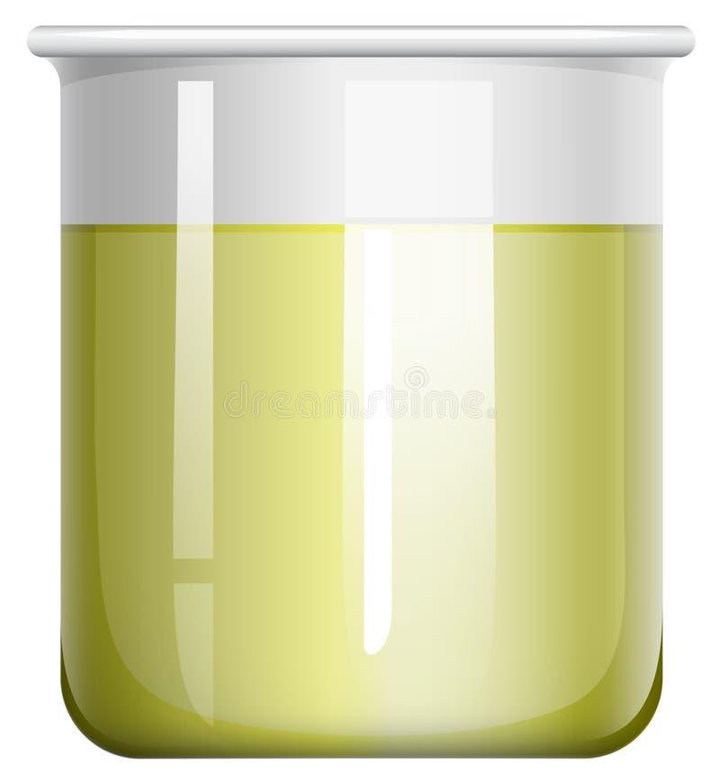 Líquido amarelo na taça de vidro ilustração do vetor