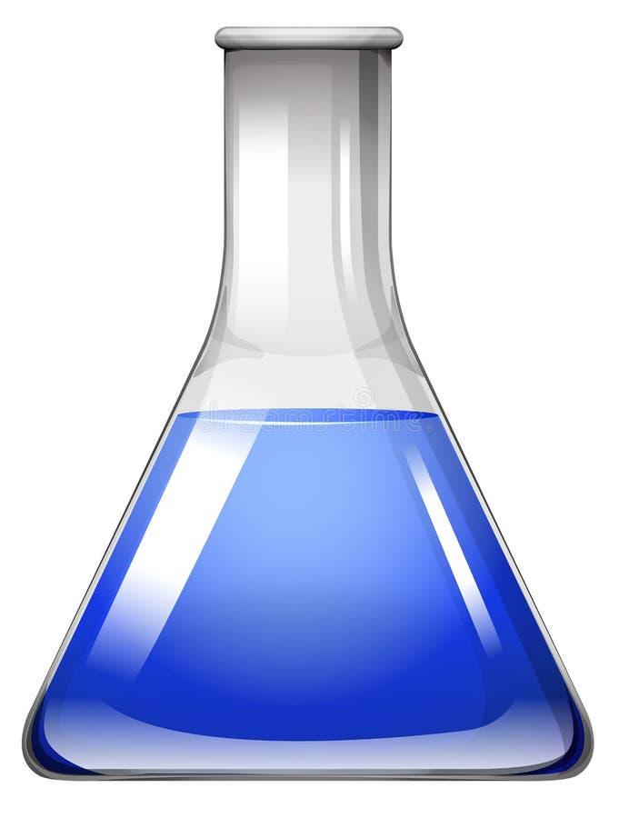 Líquido azul na taça de vidro ilustração stock
