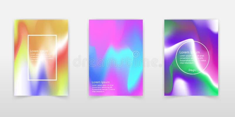 Líquido colorido abstrato e fundo holográfico das cores para o projeto do cartaz Azul, amarelo, vermelho, laranja, rosa e verde V ilustração do vetor