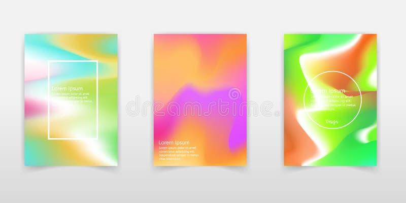 Líquido colorido abstrato e fundo holográfico das cores para o projeto do cartaz Azul, amarelo, vermelho, laranja, rosa e verde V ilustração stock