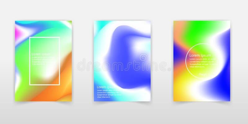 Líquido colorido abstrato e fundo holográfico das cores para o projeto do cartaz Azul, amarelo, vermelho, laranja, rosa e verde V ilustração royalty free