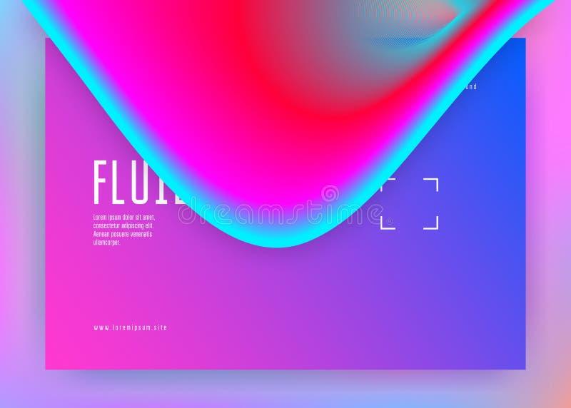 Líquido líquido com elementos e formas dinâmicos Página da aterrissagem ilustração stock