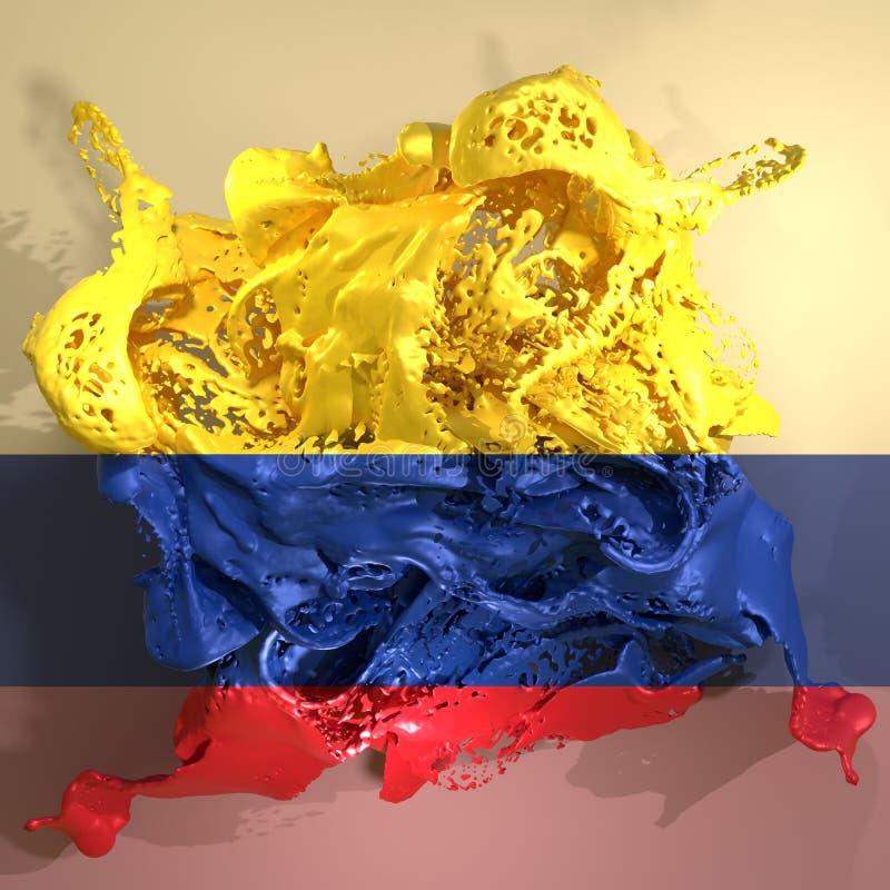 Líquido da bandeira de Colômbia ilustração do vetor