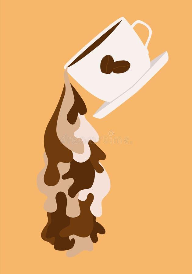 Líquido de fluxo do café ilustração do vetor