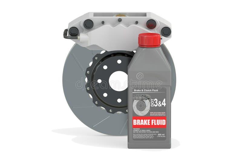 Líquido de freio com freio de disco, rendição 3D ilustração royalty free