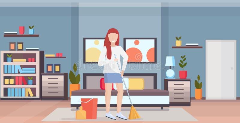 Líquido de limpeza da mulher da vassoura da terra arrendada da dona de casa que faz o comprimento completo do conceito das tarefa ilustração do vetor
