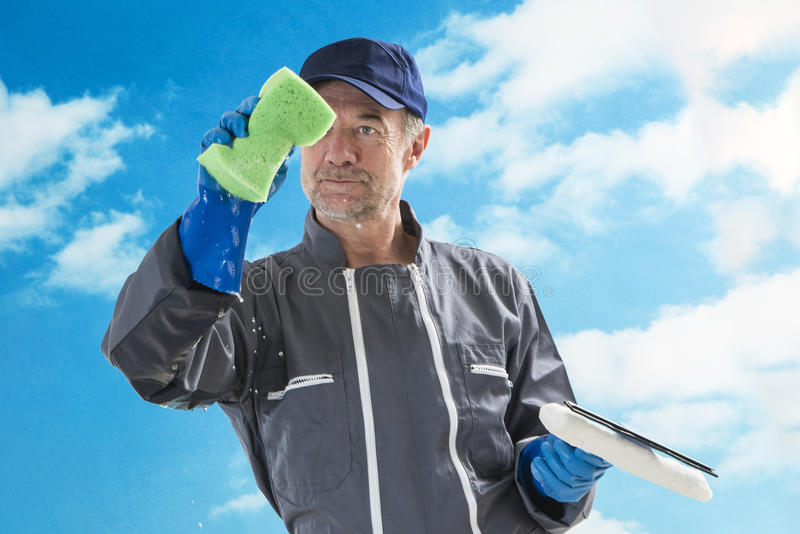 Líquido de limpeza de janela profissional fotografia de stock