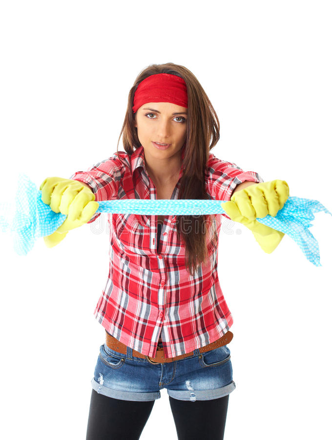 Líquido de limpeza fêmea novo na camisa vermelha, isolada fotografia de stock