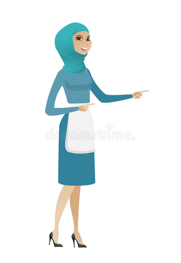 Líquido de limpeza muçulmano novo que aponta ao lado ilustração stock