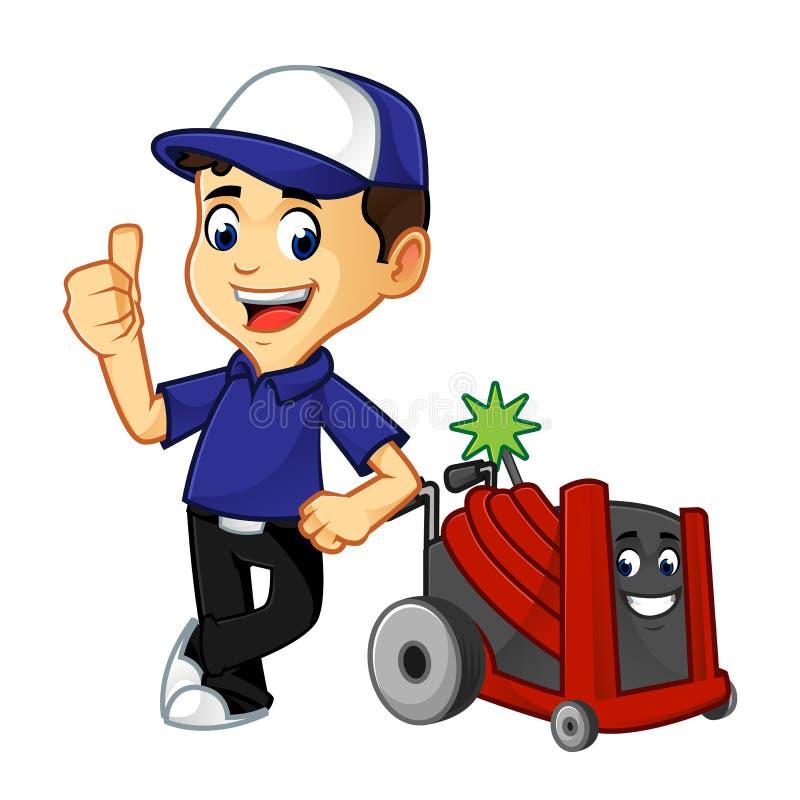 Líquido de limpeza ou técnico da ATAC com inclinação do rotobrush ilustração stock