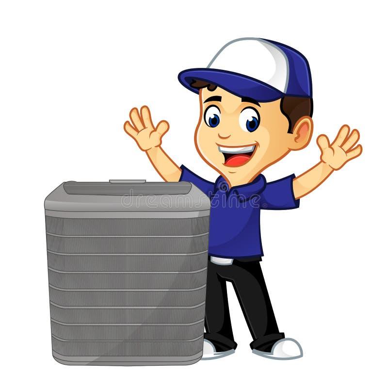 Líquido de limpeza ou técnico da ATAC com o condicionador de ar feliz ilustração royalty free
