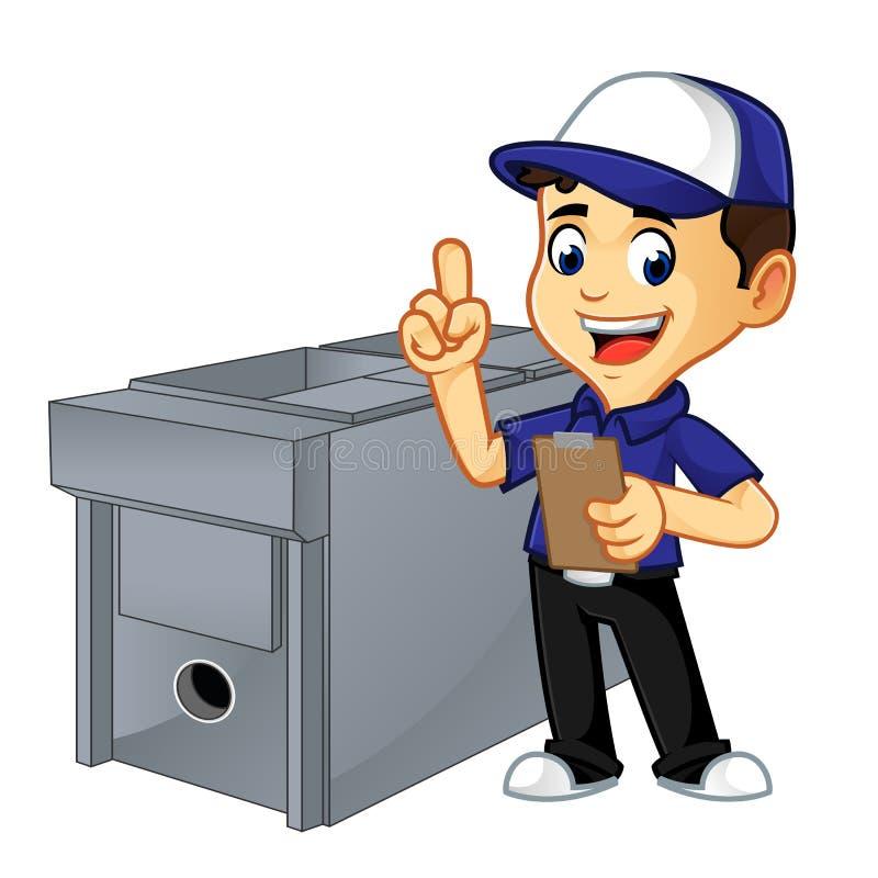 Líquido de limpeza ou técnico da ATAC que fazem a lista do trabalho da ATAC ilustração royalty free