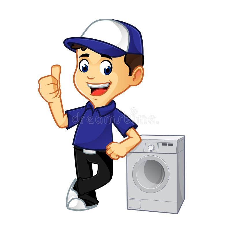 Líquido de limpeza ou técnico da ATAC que inclinam-se na máquina de lavar ilustração do vetor