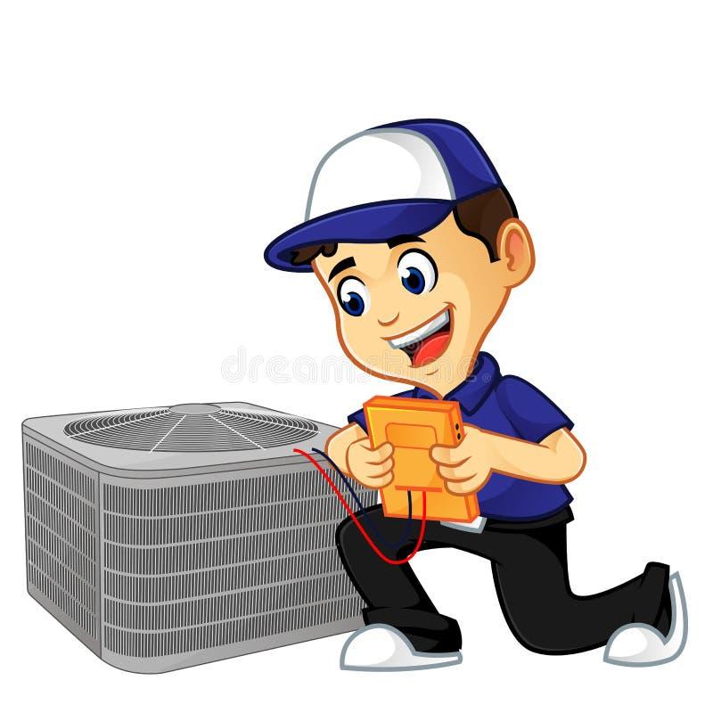 Líquido de limpeza ou técnico da ATAC que verificam o condicionador de ar ilustração stock