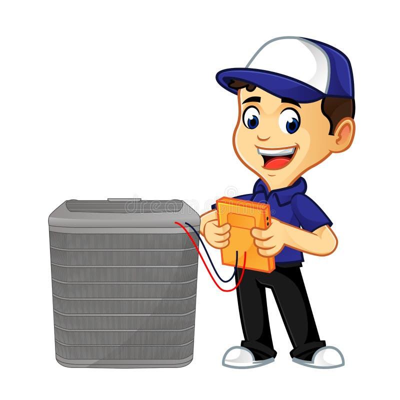 Líquido de limpeza ou técnico da ATAC que verificam a posição da C.A. ilustração royalty free