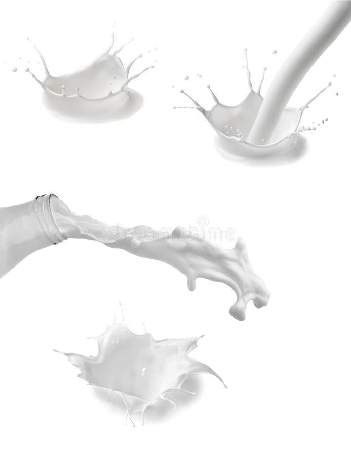 Líquido del blanco del descenso de la botella del chapoteo de la leche imágenes de archivo libres de regalías