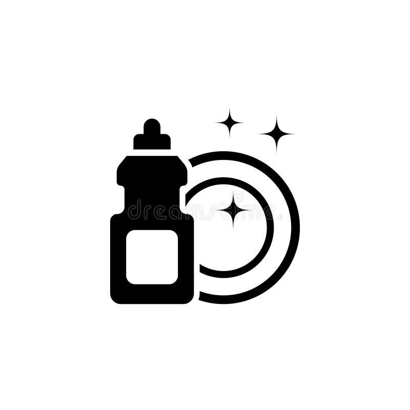 Líquido del lavaplatos de la mano con la placa limpia, plato que lava el icono plano detergente del vector stock de ilustración