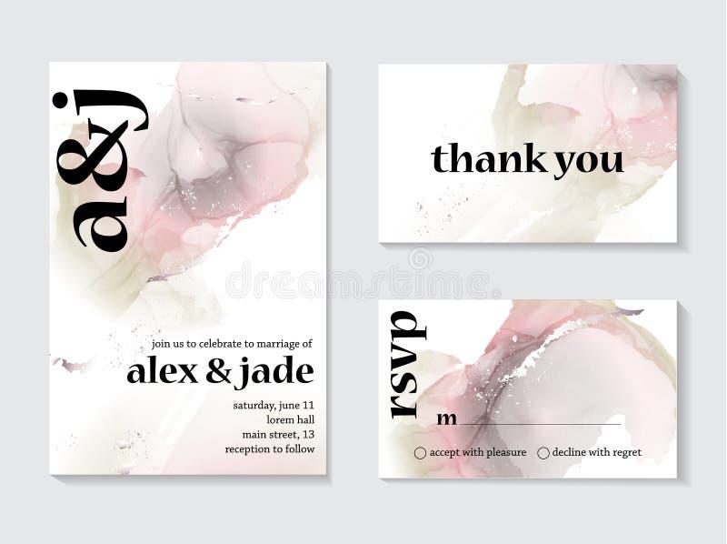 Líquido del mármol del vector del extracto en colores grises rosados olográficos Textura de la pintura de la acuarela con casarse libre illustration