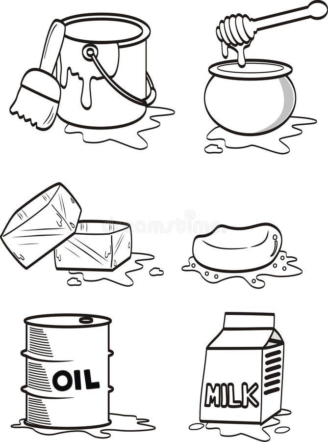 líquido derramado y derretido de varios objetos en el fondo blanco ilustración del vector