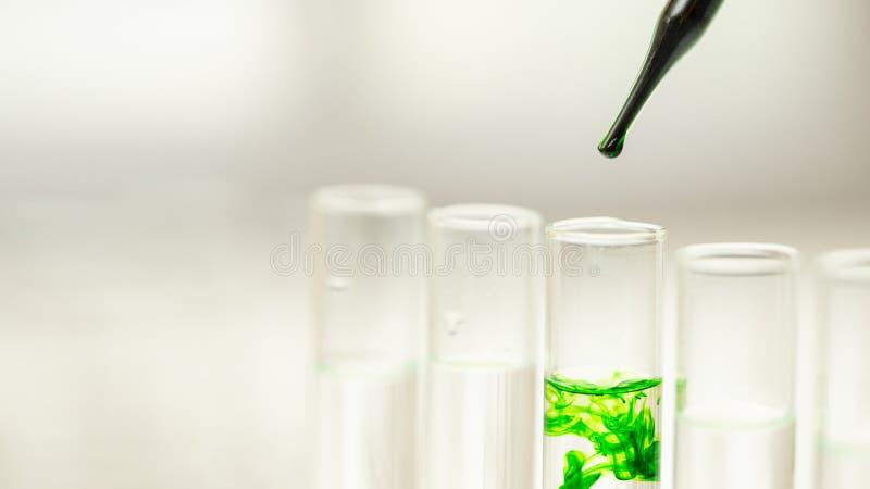 Líquido químico deixando cair ao tubo de ensaio, conceito da investigação e desenvolvimento do laboratório foto de stock