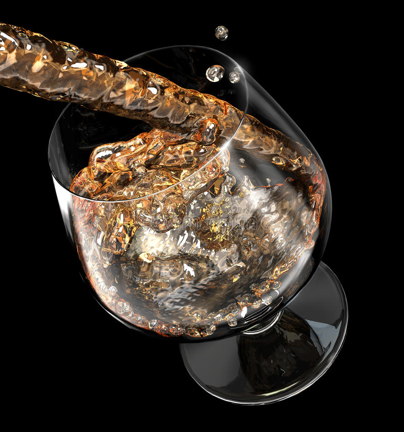 Líquido que derrama em um vidro ilustração stock