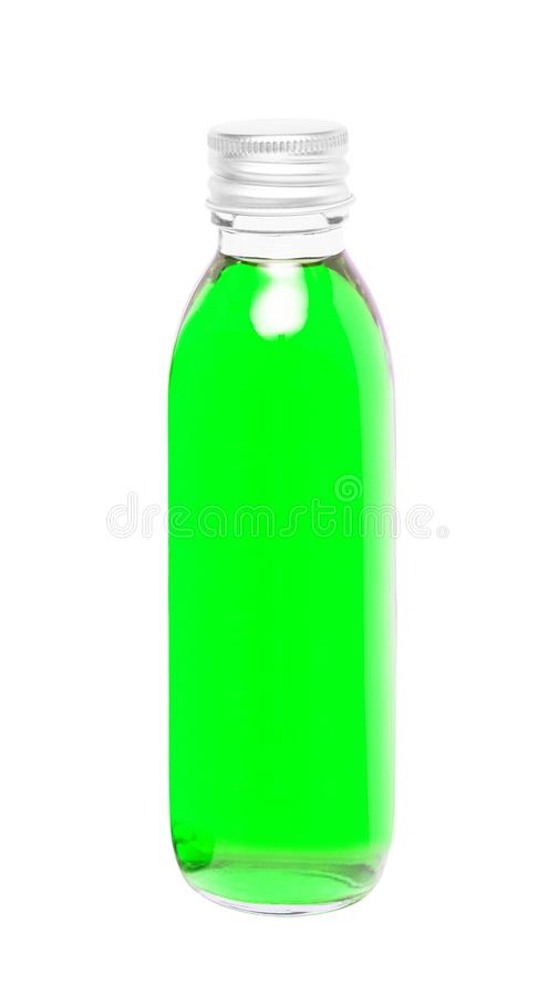 Líquido verde na garrafa de vidro foto de stock