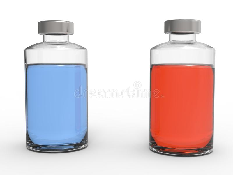 Líquidos azuis e vermelhos em uns tubos de ensaio de vidro pequenos fotografia de stock royalty free