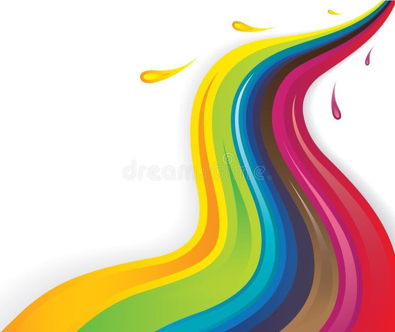 Líquidos coloridos do respingo que fluem no teste padrão ondulado ilustração do vetor