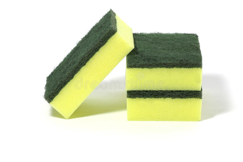 Líquidos de limpeza de nylon verdes de lãs das fibras, detergentes, esponja da limpeza do agregado familiar para limpar foto de stock