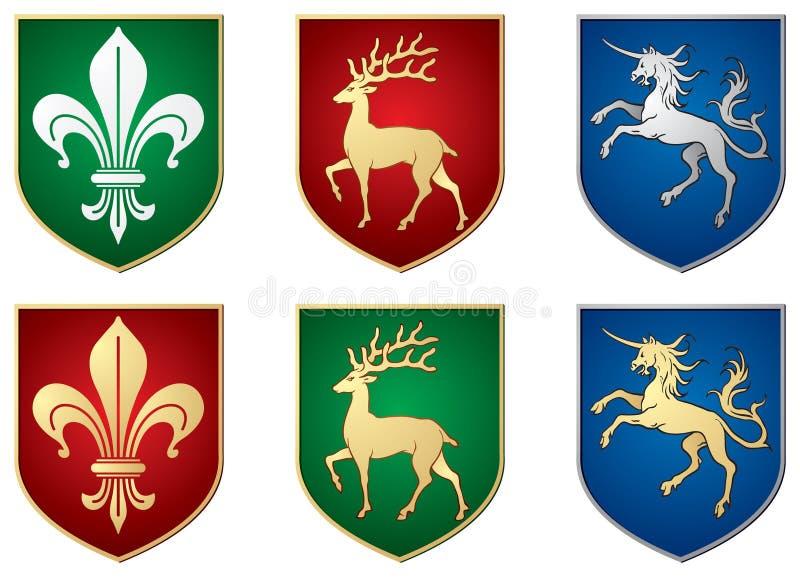 Lírio, cervo, unicórnio, símbolos heráldicos ilustração royalty free