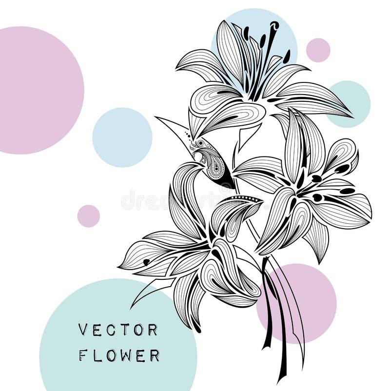 Lírio do sumário da tração da mão Projeto africano/indiano/floral/tatuagem Pode ser usado para o projeto de um t-shirt, de um sac ilustração stock