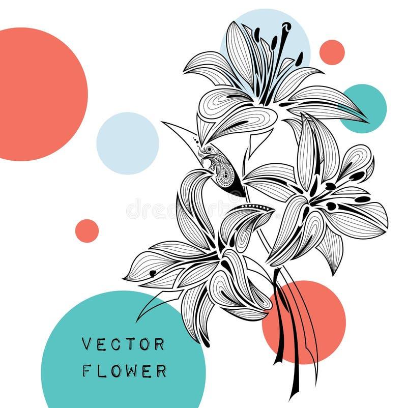 Lírio do sumário da tração da mão Projeto africano/indiano/floral/tatuagem Pode ser usado para o projeto de um t-shirt, saco, car ilustração do vetor