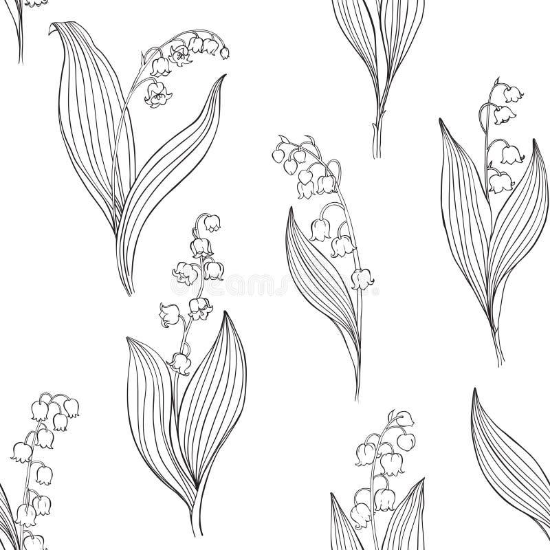 Lírio do vale Teste padrão sem emenda do vetor Ilustração preta do contorno em um fundo branco ilustração royalty free